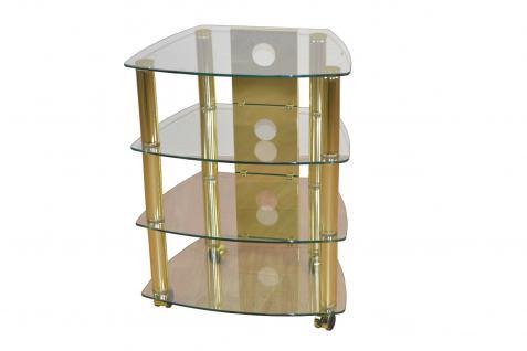 moderner Hifi-Turm messingfarben design Audioturm Glas Tv Rack Hifi-Tisch Rollen