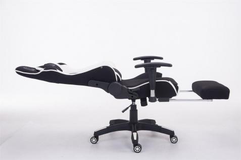 Bürostuhl 150 belastbar schwarz weiß Stoffbezug Chefsessel Fußstütze Gamer - Vorschau 3