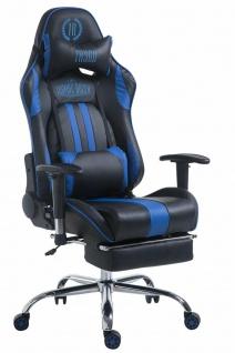 XL Chefsessel 150 kg belastbar schwarz blau Bürostuhl Fußablage Zocker Gamer