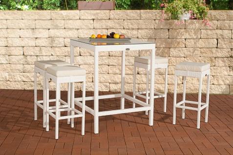 Polyrattan Gartenbar weiß Bar-Set Essgruppe Gartengarnitur Barhocker Bartisch
