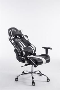 Chefsessel schwarz weiß Kunstleder Bürostuhl Kopfstütze Zocker Gamer Gaming neu