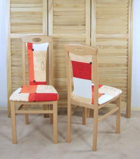 2er-Set Esszimmerstuhl Stuhlset Stühle Buche-Natur/Terra-Rot modern design Holz