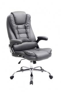 XL Chefsessel 150kg belastbar grau Bürostuhl feinstes Kunstleder hochwertig