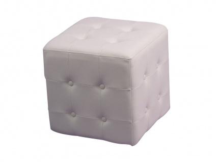 design Sitzwürfel weiß Sitzhocker Hocker Würfel Schaumfüllung Lederoptik modern