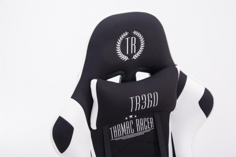 Bürostuhl 150 belastbar schwarz weiß Stoffbezug Chefsessel Fußstütze Gamer - Vorschau 5