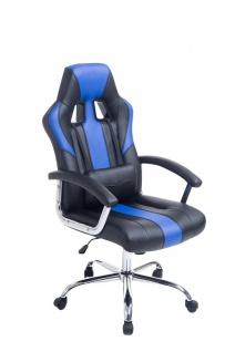 Bürostuhl 150 kg belastbar schwarz blau Kunstleder Chefsessel schwere Personen - Vorschau 1