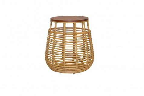 Rattan Beistelltisch Beitisch Tischplatte massivholz Couchtisch modern design