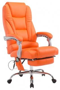 Chefsessel orange Massagefunktion Fußablage Kunstleder Bürostuhl hochwertig neu