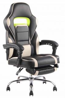 Bürostuhl 136kg belastbar schwarz creme Kunstleder Chefsessel Fußablage Stütze