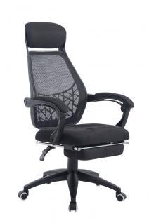 Bürostuhl schwarz bis 125 kg belastbar Chefsessel Netzbezug Fußstütze modern