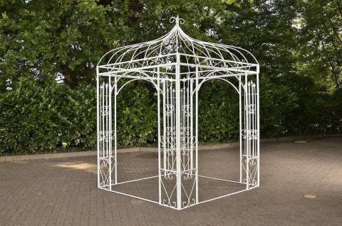 Pavillon Eisen weiß antik Rankhilfe stabil Pergola Rosenbogen Rankgitter design
