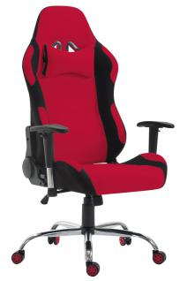 XL Bürostuhl 136 kg belastbar Stoff schwarz rot Chefsessel Gamer Zocker robust