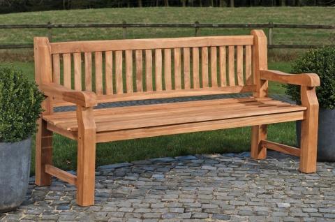 Gartenbank 180 cm massiv Teak Sprossen-Design Holzbank Sitzbank Rückenlehne