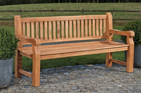 Gartenbank 240 cm massiv Teak Sprossen-Design Holzbank Sitzbank Rückenlehne