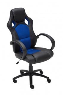 Bürostuhl schwarz blau Chefsessel Kunstleder stabil robust preiswert günstig