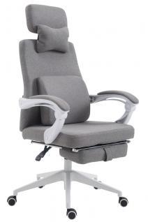 Bürostuhl Stoff grau klassisch Chefsessel mit Fußablage hochwertig modern design