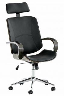 Bürostuhl 130 kg belastbar schwarz / grau Kunstleder Chefsessel Holzrahmen