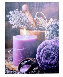 LED-Wandbild Kerze lila 1 Lämpchen Leinwand massivholz-Gestell Wanddeko design