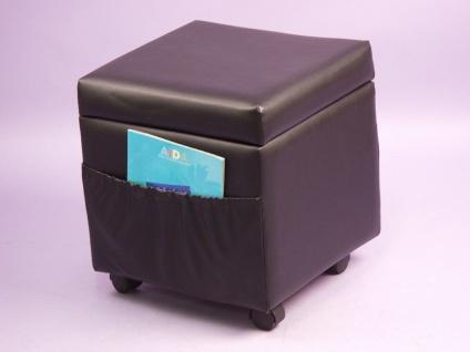 Sitzwürfel schwarz Sitz Sitzhocker Hocker Würfel stabil Rollen Stoff Taschen