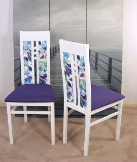 2er-Set moderne Esszimmerstühle massivholz weiß pflaume Polsterstuhl Stuhlset - Vorschau