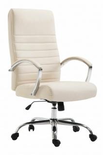XL Bürostuhl bis 136 kg belastbar Kunstleder creme Chefsessel hochwertig design