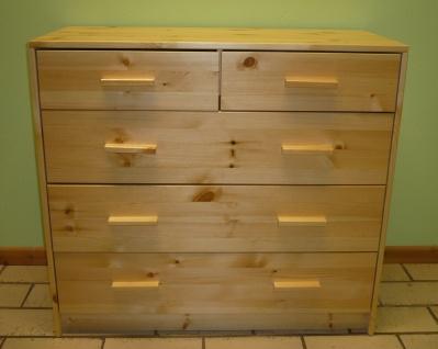 Kommode Kiefer massiv Natur lackiert Anrichte 5 Schubladen massivholz Sideboard