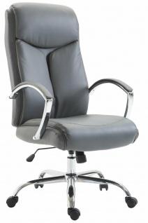 XL Bürostuhl 140 kg belastbar Kunstleder grau Chefsessel schwere große Personen