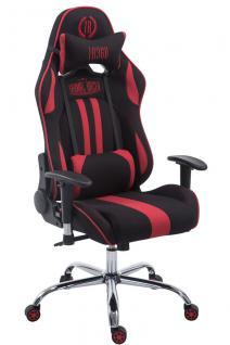 Chefsessel 150kg belastbar schwarz rot Stoffbezug Bürostuhl Zocker Gamer Gaming