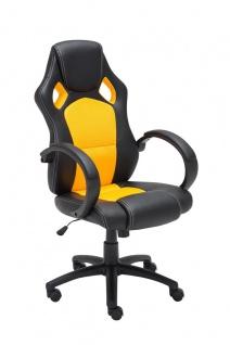 Bürostuhl schwarz gelb Chefsessel Kunstleder stabil robust preiswert günstig