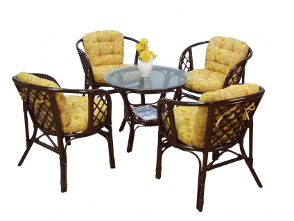 Sitzgruppe braun gelb Tischgruppe Rattansessel inkl. Kissen Rattanstuhl Sessel