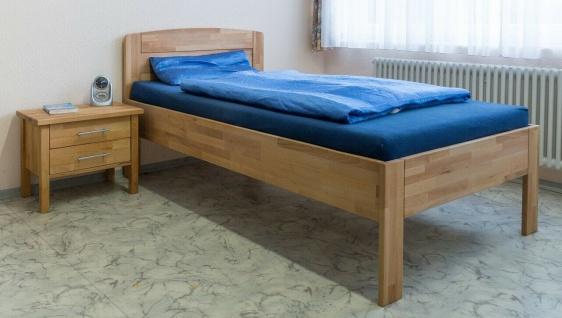 höhenverstellbares Komfortbett 100x200 Kernbuche massiv Einzelbett Seniorenbett