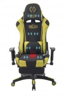 Bürostuhl grün Stoff Chefsessel Wärme- und Massagefunktion Gaming Gamer Zocker