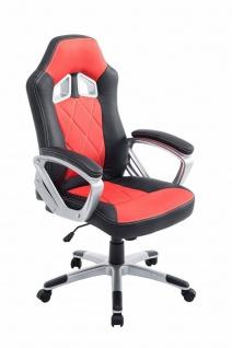 XL Bürostuhl 180 kg belastbar schwarz rot Kunstleder Chefsessel schwere Personen