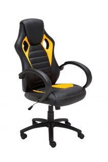 Bürostuhl 120 kg belastbar schwarz gelb Kunstleder Chefsessel sportliches design