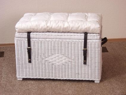 Wäschetruhe weiß ohne Kissen Sitztruhe Wäschekorb Holztruhe massiv günstig neu