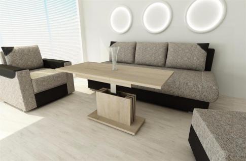 Couchtisch Sonoma Eiche ausziehbar Wohnzimmer design modern edler Sofatisch