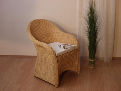 Rattansessel beige inklusive Kissen Auflage Rattan Rattanstuhl Sessel Stuhl neu