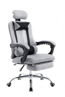 Bürostuhl grau Fußablage Chefsessel Zocker Gamer Gaming günstig stabil belastbar