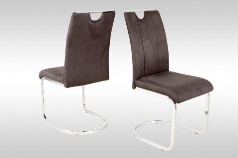 4 x Schwingstuhl anthrazit Leder-look Stuhlset Freischwinger günstig preiswert