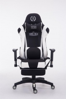 Bürostuhl 150 belastbar schwarz weiß Stoffbezug Chefsessel Fußstütze Gamer - Vorschau 2