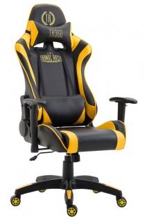 XL Bürostuhl 136 kg belastbar schwarz gelb Kunstleder Chefsessel hochwertig