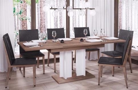 design Säulentisch nussbaum weiß Esstisch zweifarbig ausziehbar Auszug modern