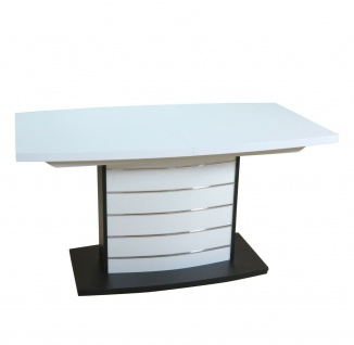 Säulentisch weiß schwarz silber Esstisch Auszugtisch ausziehbar design modern