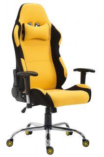 XL Bürostuhl 136 kg belastbar Stoff schwarz gelb Chefsessel Gamer Zocker robust