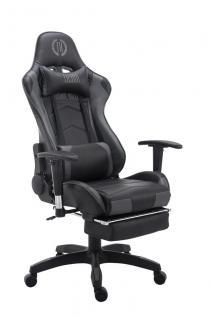 Bürostuhl bis 150 kg belastbar schwarz grau Kunstleder Chefsessel Fußstütze