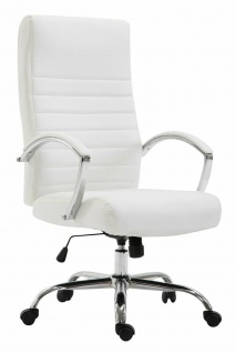 XL Bürostuhl bis 136 kg belastbar Kunstleder weiß Chefsessel Drehstuhl stabil