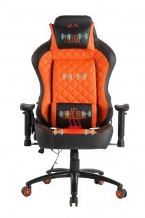 Chefsessel orange Kunstleder Bürostuhl Wärme/Massage Gaming Gamer Zockersessel