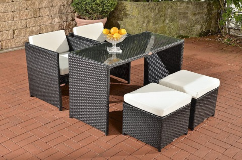 Polyrattan Sitzgruppe schwarz Essgruppe Tischgruppe Terrasse Lounge Garten neu