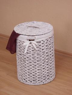 Wäschetruhe weiß rund Wäschekorb Wäschebox Wäschesammler geflochten Stoffeinsatz