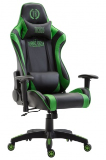 XL Bürostuhl 136 kg belastbar schwarz grün Kunstleder Chefsessel hochwertig